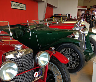 Line up of vintage MG sports cars.