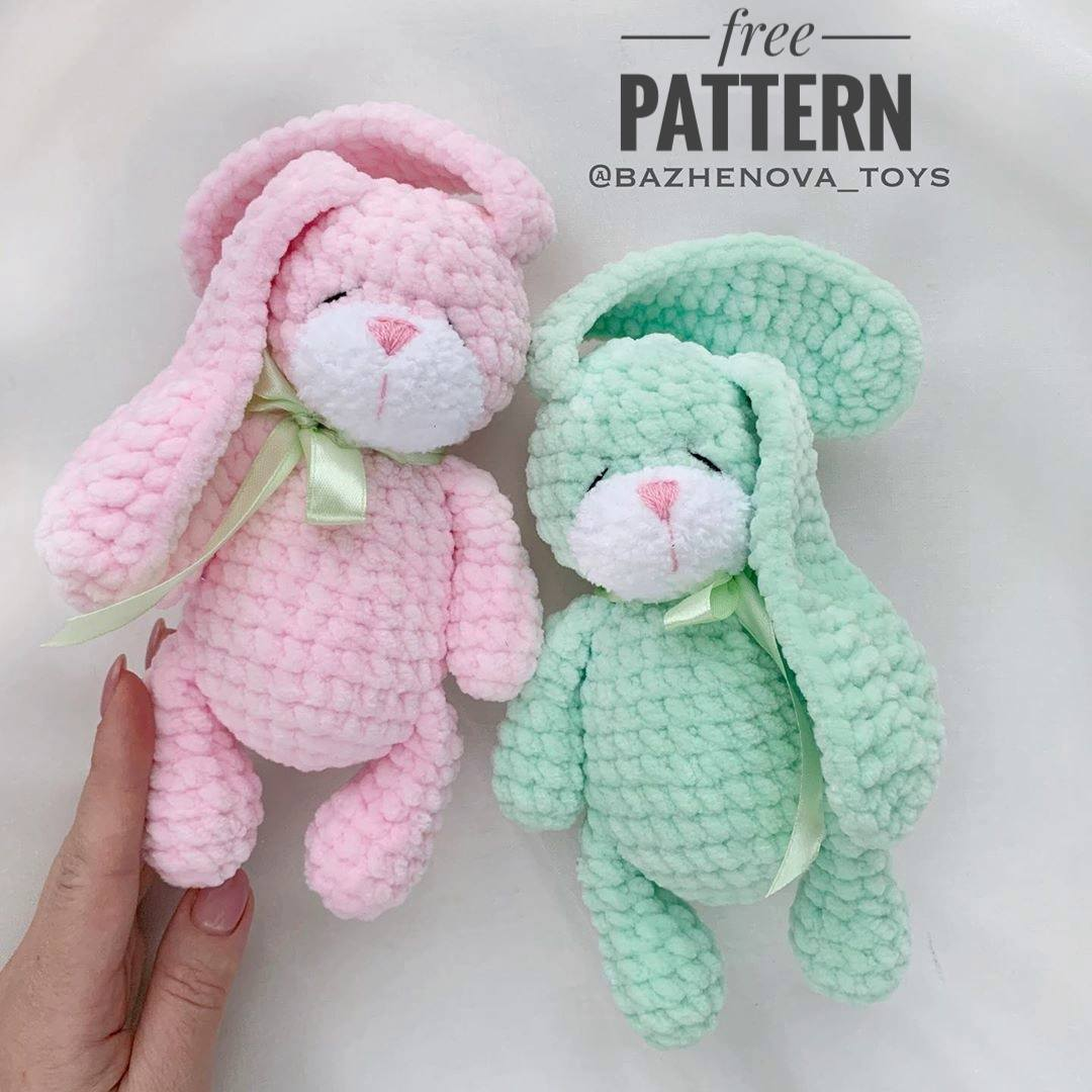 Crochet Big Flappy Ear Bunny Amigurumi Free Pattern | 1080x1080