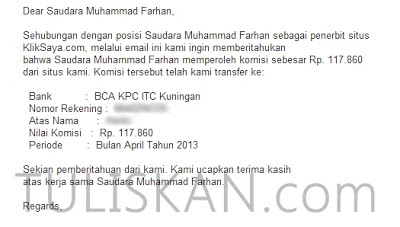 Alhamdulillah, Payout Pertama dari PPC Kliksaya