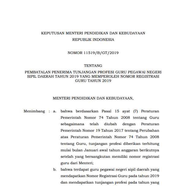 Kepmendikbud tentang Pembatalan Penerima Tunjangan Profesi Guru PNSD 2019 yang Memperoleh NRG Tahun 2019