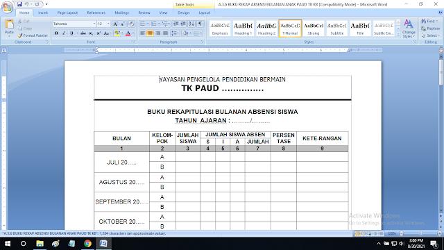 Rekapitulasi Absensi Bulanan Siswa Paud TK KB TPA SPS RA doc