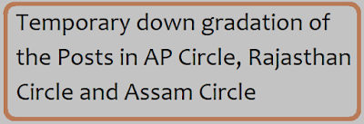 Temporary down gradation of the Posts in AP Circle, Rajasthan Circle and Assam Circle