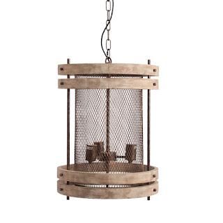 lampara de techo vintage forja madera actual