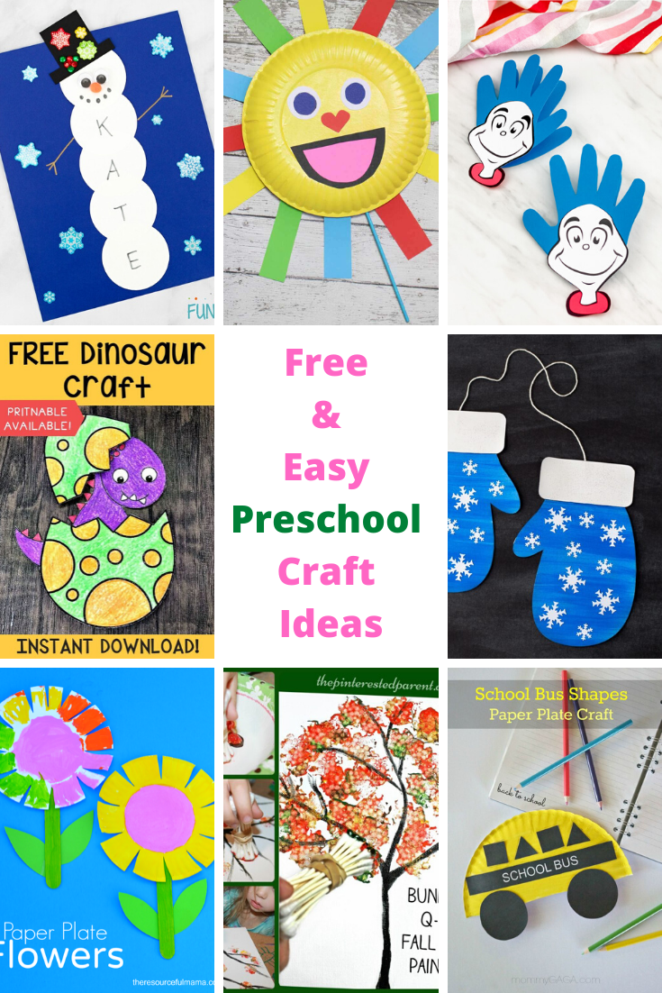 Free preschool crafts that are easy to do, and include various themes