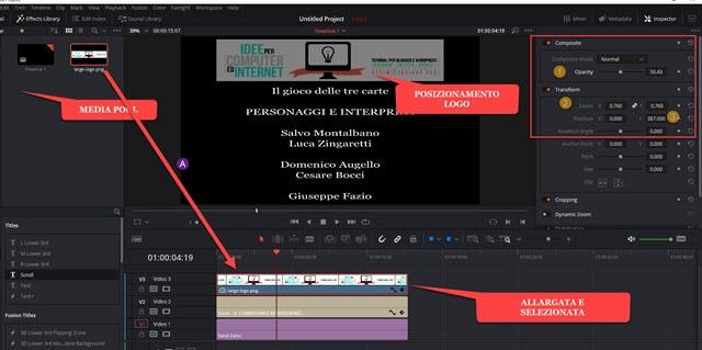 posizionamento del logo nella parte libera dello schermo