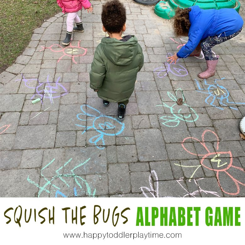 Squish the bugs alphabet game - spring activities for kids