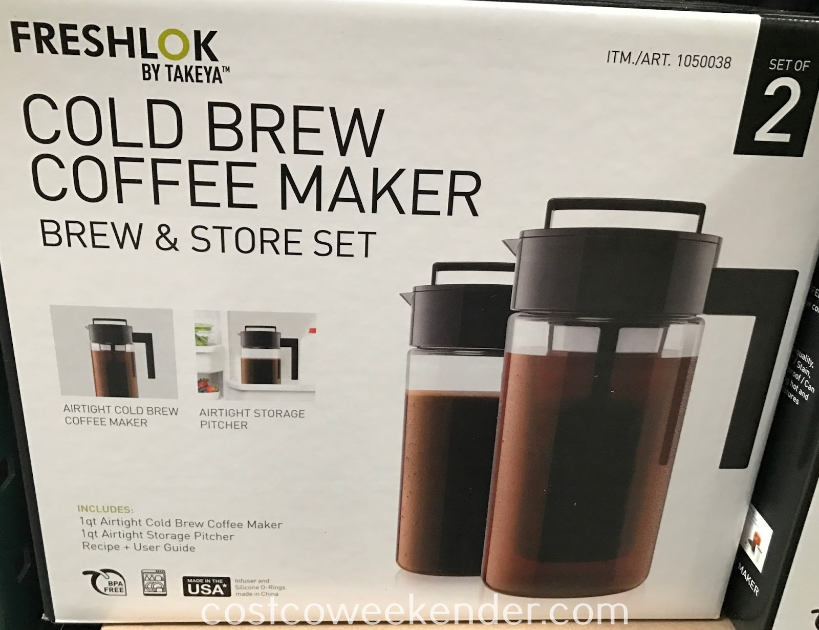 Enjoy iced coffee on a hot day with the Takeya Cold Brew Coffee Maker Brew and Store Set