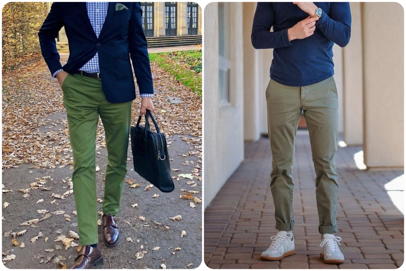 Chinos for men's peppy style.