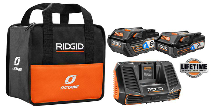 Ridgid 18-Volt OCTANE Lithium-Ion Bluetooth 3.0 Ah and 6.0 Ah battery starter kit with charger