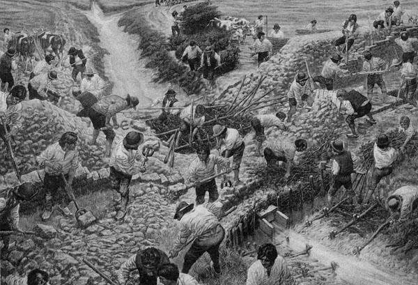 Acadians building dykes