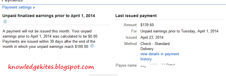 adsense Payment in progress step 2