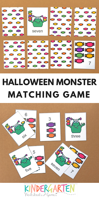 Free Monster Memory Game Counting 1 10 Kindergarten Worksheets