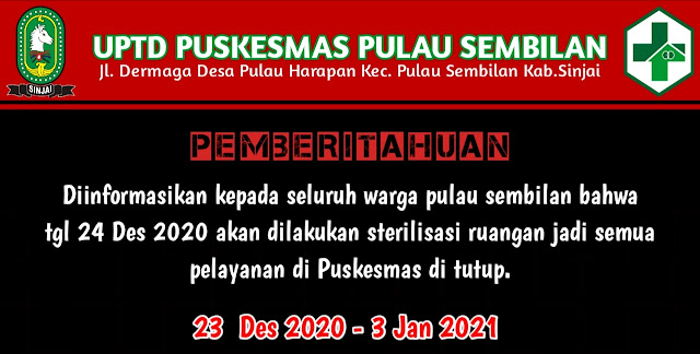 Imbas Nakes Positif, Poli Rawat Jalan dan Antenatal Care Pusksemas Pulau Sembilan Ditutup