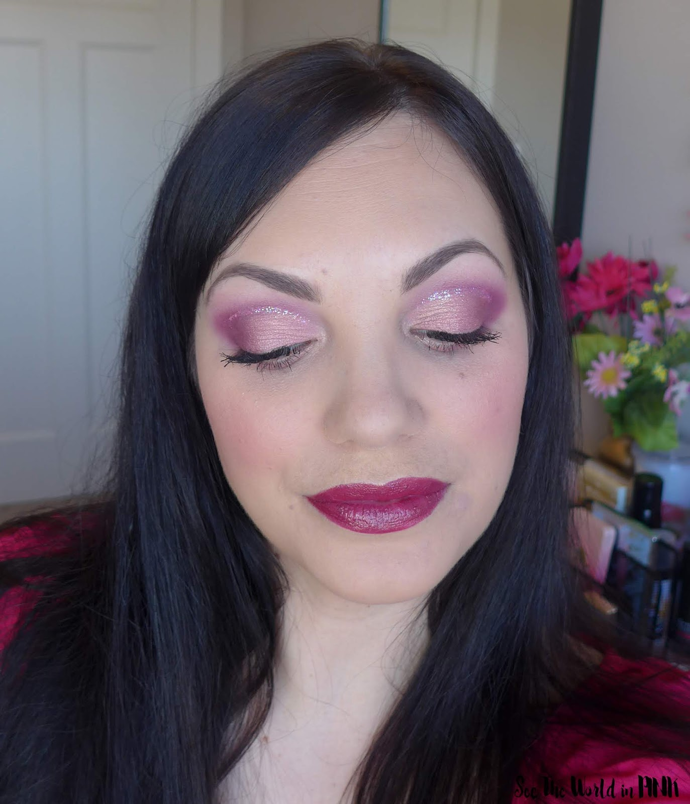 Valentine's Day Pink Cut Crease with Glitter Accent