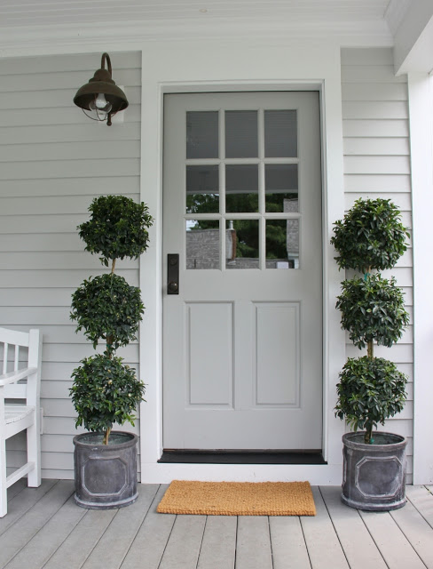 gray front door, front entrance