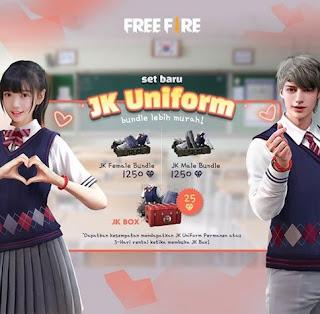 Bundle JK Uniform Free Fire (FF) Bagaimana Cara Mendapatkannya?
