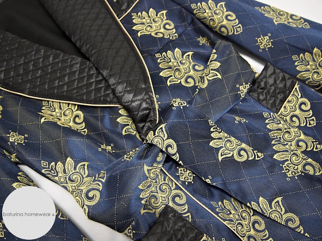Men's luxury quilted silk lounge robe dressing gown