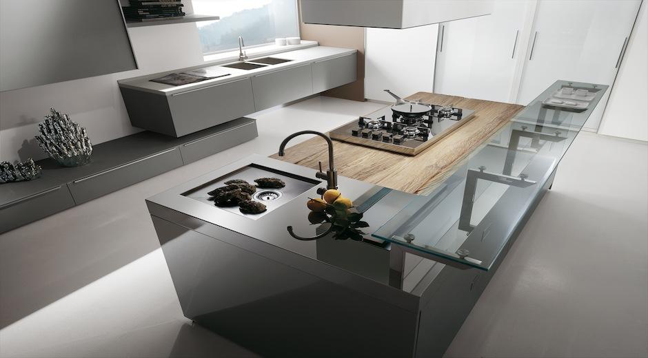 Una combinaci n perfecta madera acero y cristal for Cocina tipo isla diseno