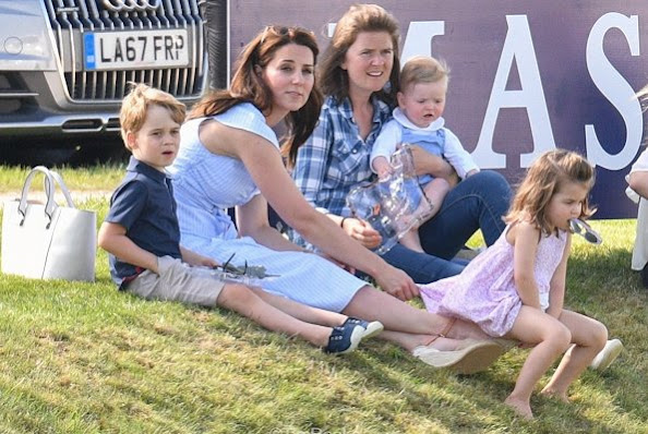 Kate Middleton wore ZARA striped off the shoulder dress. Catherine, Duchess of Cambridge, Princess Charlotte and Prince George, Savannah Phillips