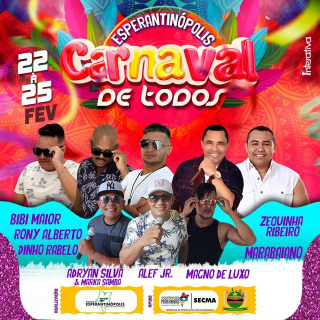 Prefeitura de Esperantinópolis divulga atrações do Carnaval 2020; confira a programação