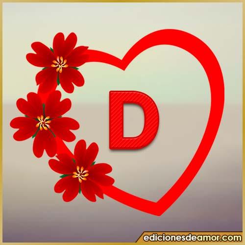 corazón de flores con letra D
