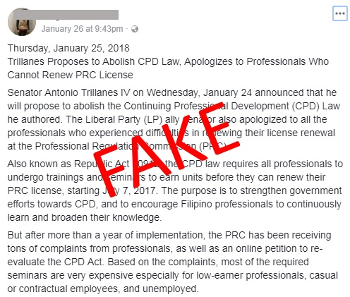 fake news CPD Law abolish by Trillanes