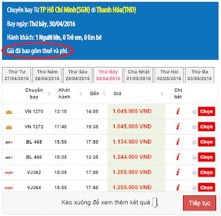 Giá vé máy bay lễ 30/4 - 1/5 Hồ Chí Minh đi Thanh Hóa
