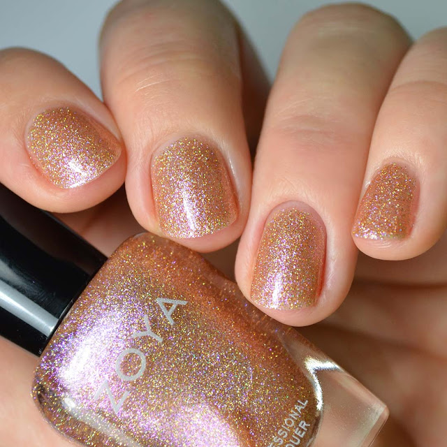 rose gold holographic nail polish swatch