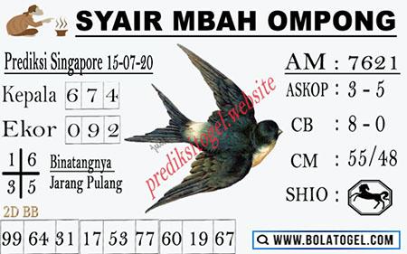 Syair Mbah Ompong SGP Singapura Rabu 15 Juli 2020
