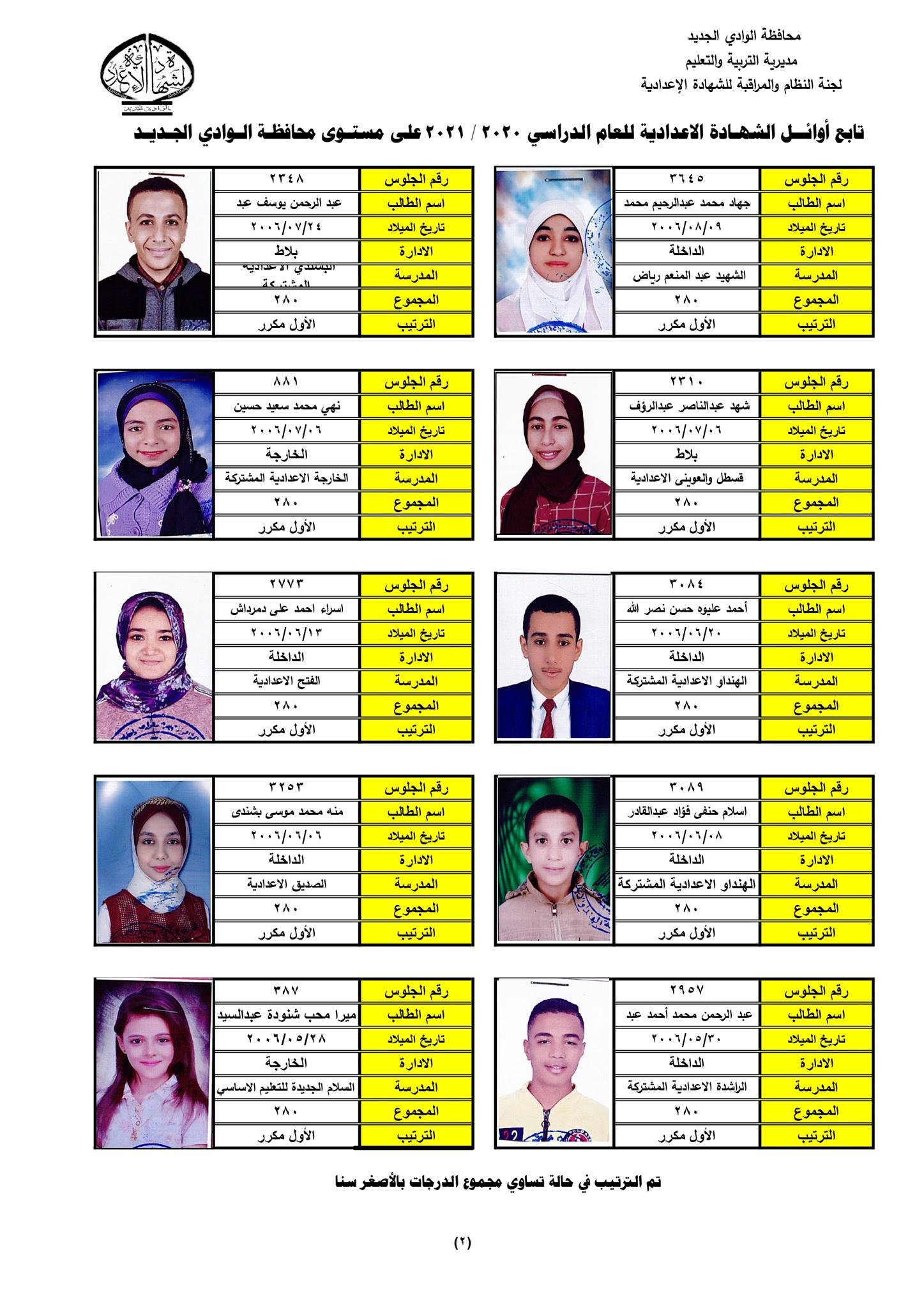 نتيجة الشهادة الإعدادية 2021 محافظة الوادي الجديد  6