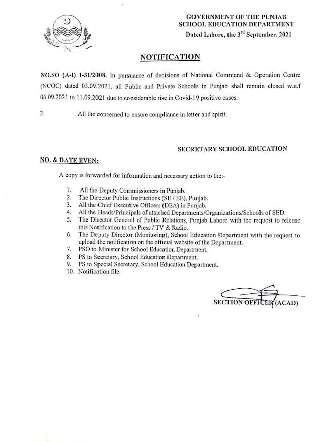 SCHOOLS CLOSURE NOTIFICATION W.E.F 06.09.2021 TO 11.09.2021