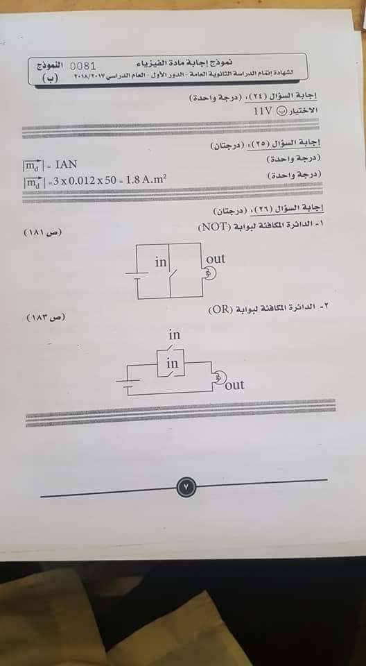 النموذج الرسمي لإجابة امتحان الفيزياء للثانوية العامة 2018 بتوزيع الدرجات 7