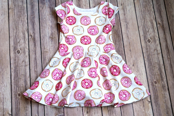 Elizabeth's Closet girl twirl dress made with Pink Donuts fabric design by Hazel Fisher Creations