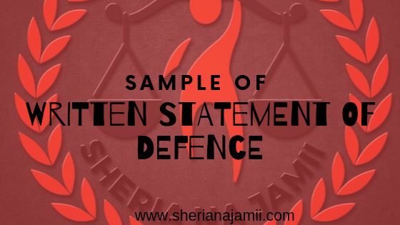 sample of Written Statement of Defence (WSD)