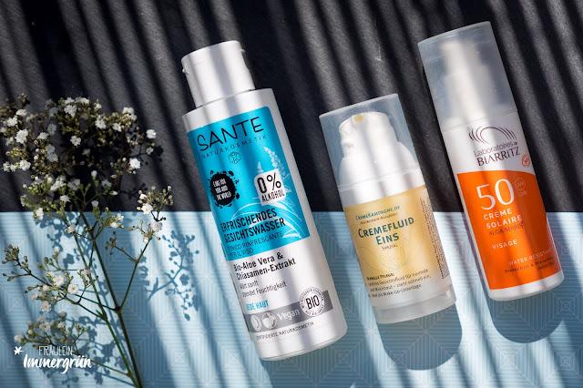 Sante Erfrischendes Gesichtswasser, Cremekampagne Cremefluid Eins, Alga Maris Sonnenschutz