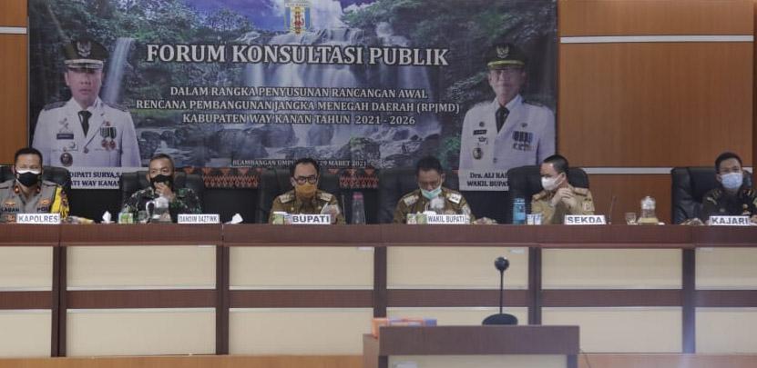 Konsultasi Publik RPJM, Bupati Waykanan Ajak Jajarannya Tingkatkan SDM