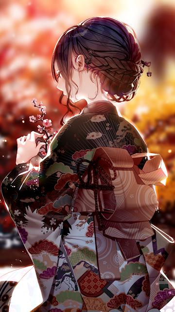 Cô gái mặc kimono với vẻ đẹp ưu sầu