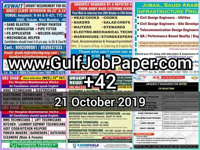 Gulf Overseas Jobs {Post Date~21 October}