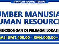 Jawatan Kosong Sektor Sumber Manusia / Human Resources - Pelbagai Lokasi / Gaji RM1,400.00 - RM4,000.00++