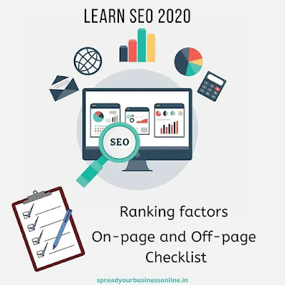 Laptop screen showing analytics and checklist: On-page and Off-page SEO checklist