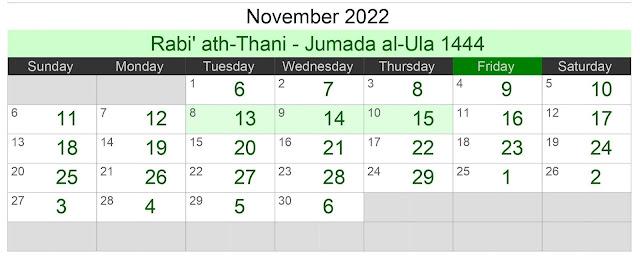 Kalender Hijriah Bulan November 2022 Lengkap Jadwal Puasa