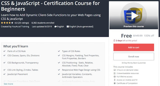 [100% Off] CSS & JavaScript - Certification Course for Beginners  Worth 149,99$