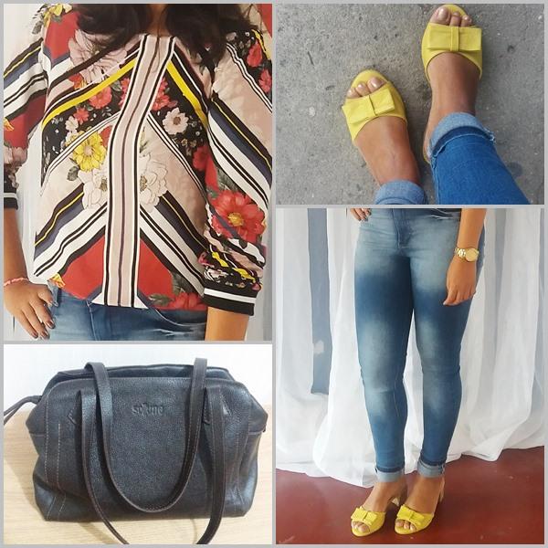 Look do dia: blusa; Calça jeans; Sandália; Bolsa; Bijuterias; Relógio;