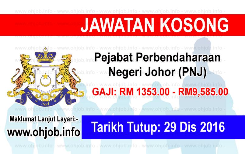 Jawatan Kerja Kosong Pejabat Perbendaharaan Negeri Johor (PNJ) logo www.ohjob.info disember 2016