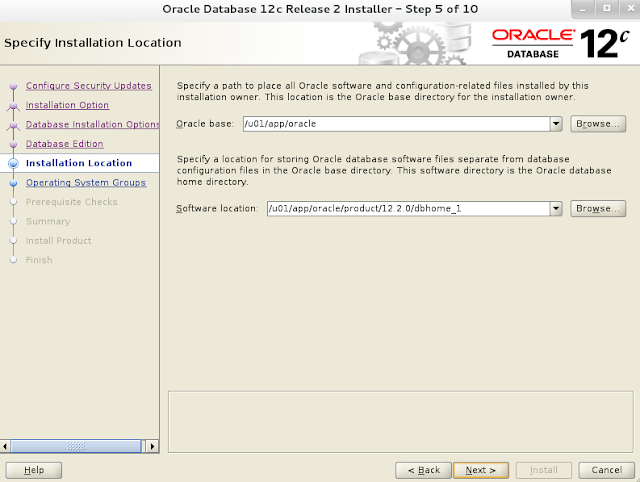 Installing oracle database 12c r2 on Linux wizard screen 5