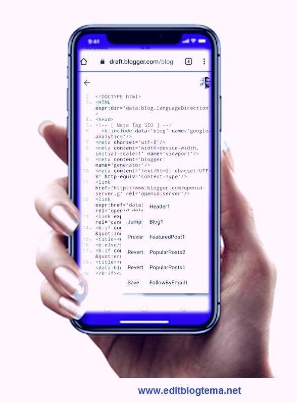 halaman editor HTML blogger di akses melalui ponsel