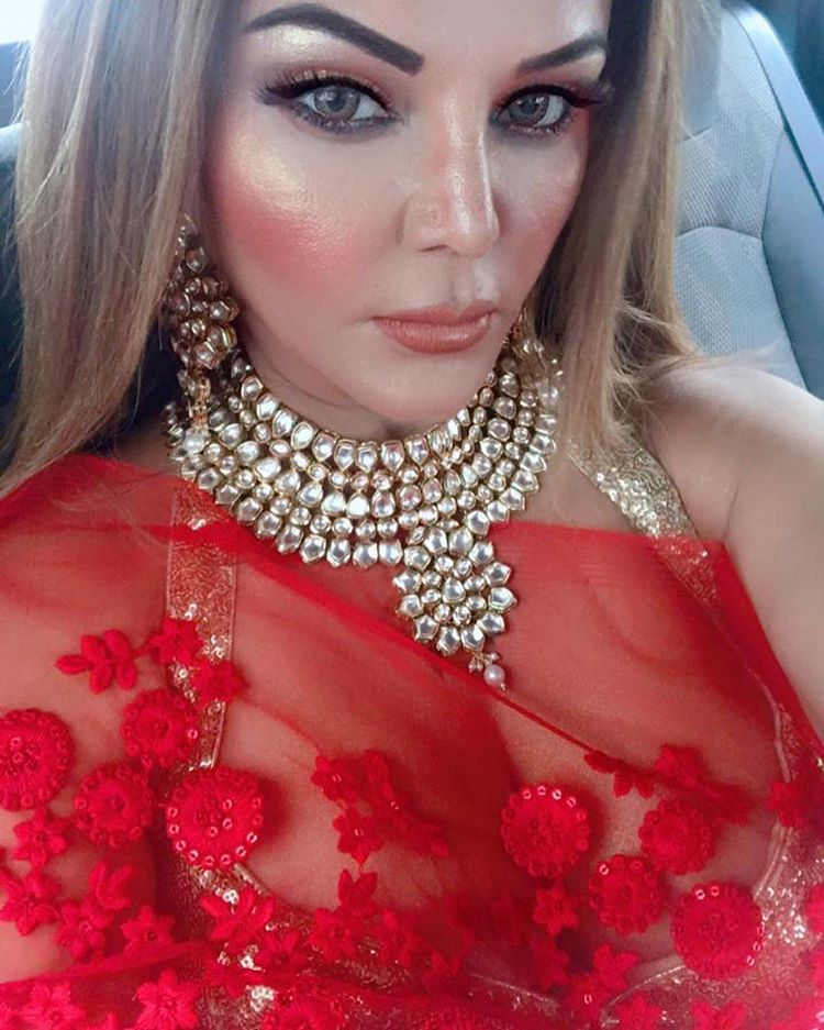 Red Color Dress Rakhi Sawant Hot Pictures