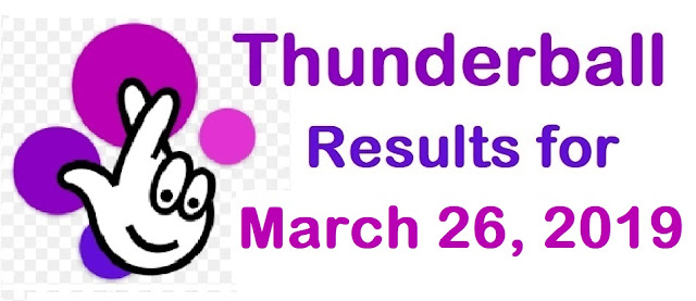 Thunderball results for Tuesday 26 March 2019