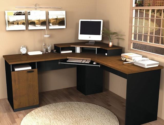 corner wood home office desk images