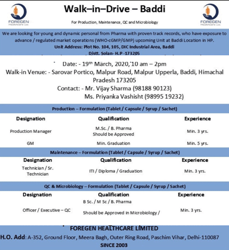 Foregen Healthcare Limited Walk in 19/03/2020 for QC/Production/Maintenance